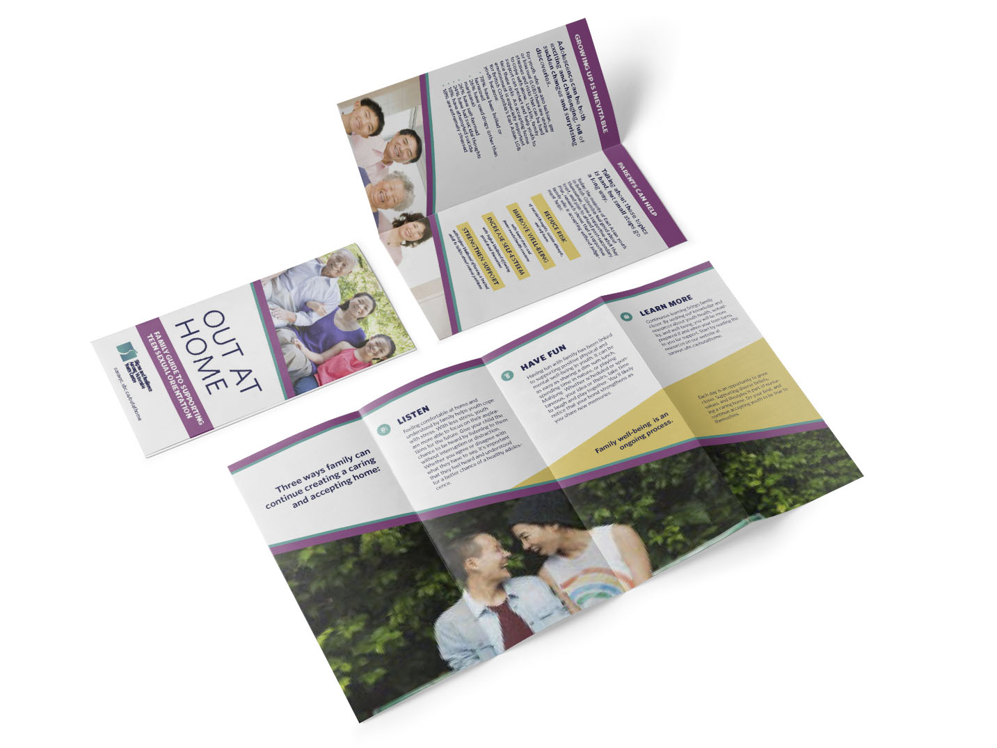Mockup of the Out at Home quad-fold brochure front cover, inside flaps, and inside.