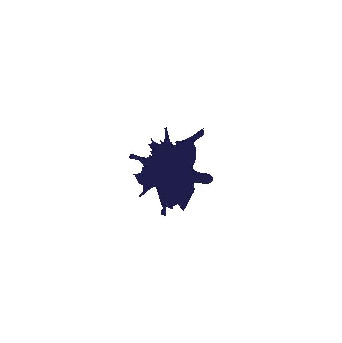A navy blue ink blot