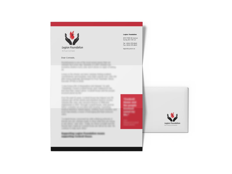 Mockup of Legion Foundation letter on top of an envelope.